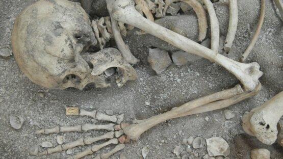 Ossada humana encontrada em sítio arqueológico.