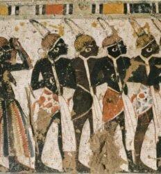 Núbios na corte do faraó. Egito antigo