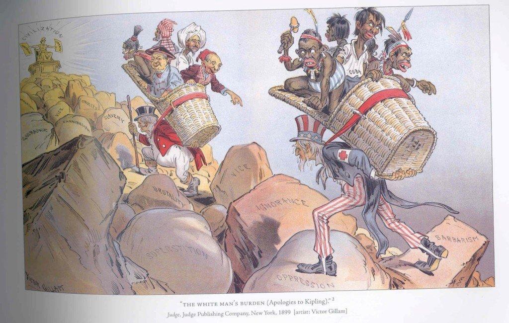 Charge satiriza o poema de Kipling mostrando um americano e um britânico carregando seus respectivos fardos.