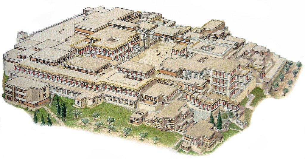 Reconstituição artística do palácio de Cnossos segundo Arthur Evans.