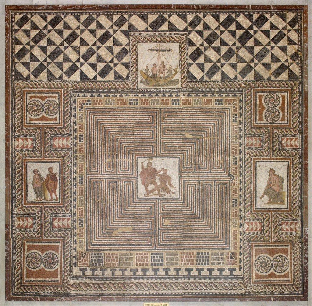 Teseu mata o Minotauro, mosaico