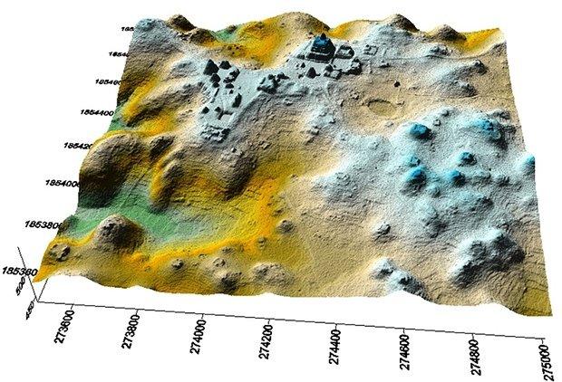 Foto tridimensional do LIDAR da área de Caracol, Belize