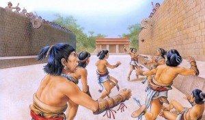 Reconstituição artística do jogo de bola asteca.