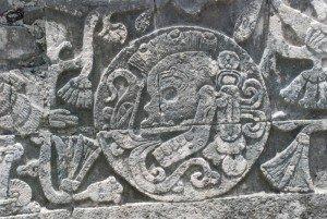Detalhe do relevo de Chichén Itzá.