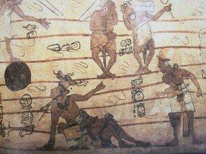 Jogadores em pintura mural, Bonampak, México.