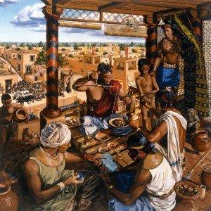 Comerciantes em Harappa, reconstituição artística (National Geographic).