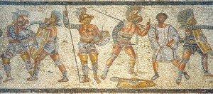 Gladiadores lutando. Mosaico, Villa Zliten, norte da África, séc. II d.C.