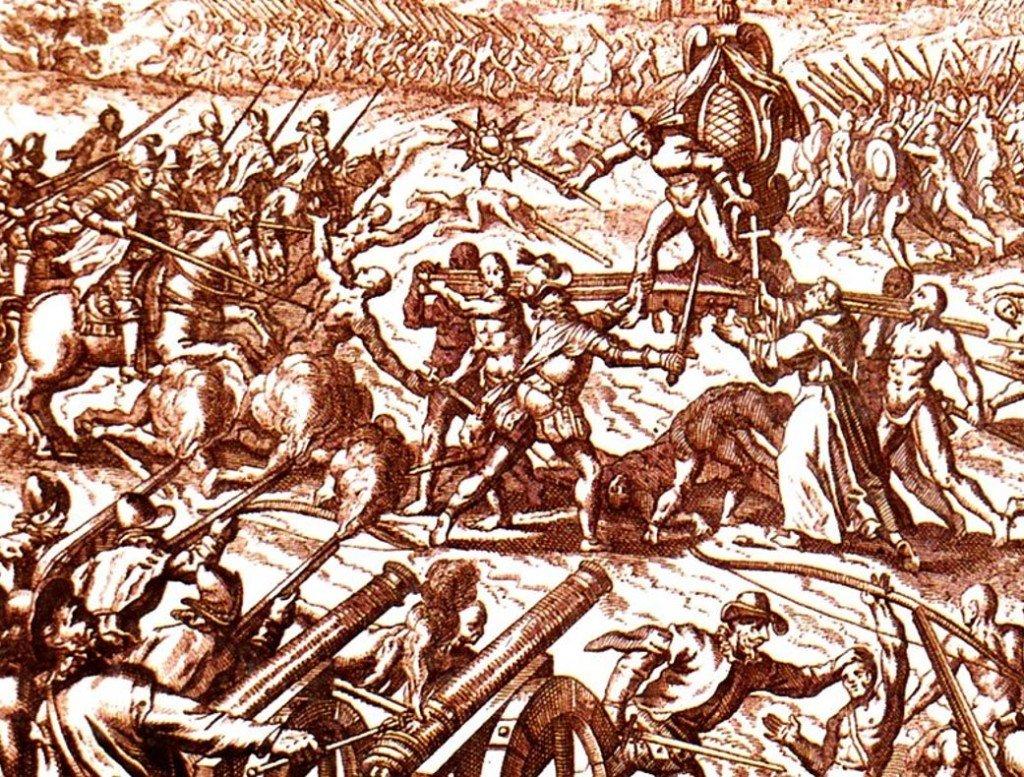 Atahualpa é arrancado de sua liteira por Pizarro. Gravura de Theodor de Bry, séc. XVI.