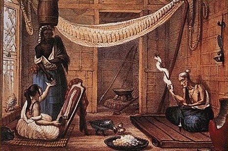 Família pobre em sua casa, Debret, c. 1820. A família se restringe à viúva pobre e sua filha. A única escrava entrega à jovem o dinheiro obtido por algum serviço nesse dia.