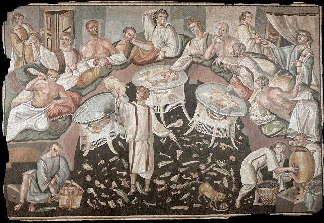 Banquete romano. Mosaico, séc. II.