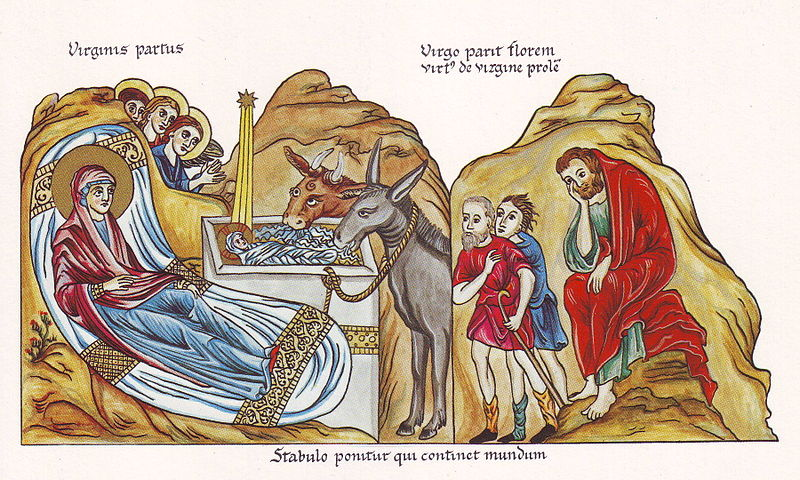 Jesus na manjedura, iluminura medieval, séc. XII