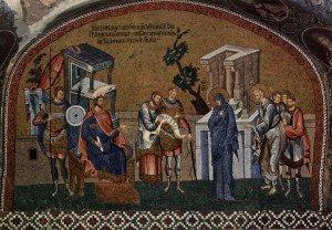 José e Maria em Belém para o censo. Mosaico, Igreja Chora, Istambul.