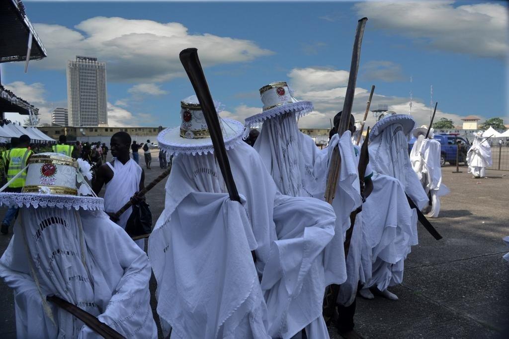 Festival iorubá Eyo, em Lagos, na Nigéria.