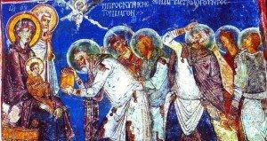 Os magos levam presentes ao menino Jesus. Afresco em igreja ortodoxa, Capadócia, Turquia.