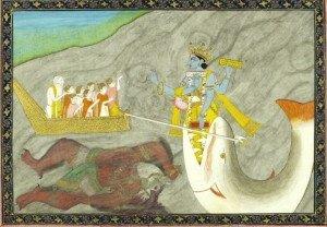 Matsya, o peixe, foi o primeiro avatar do deu Vishnu.
