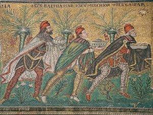 Reis magos. Mosaico, c.565, Basílica de Santo Apolinário Novo, Ravena, Itália.