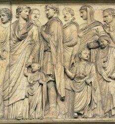 Família imperial em procissão religiosa. Roma Antiga