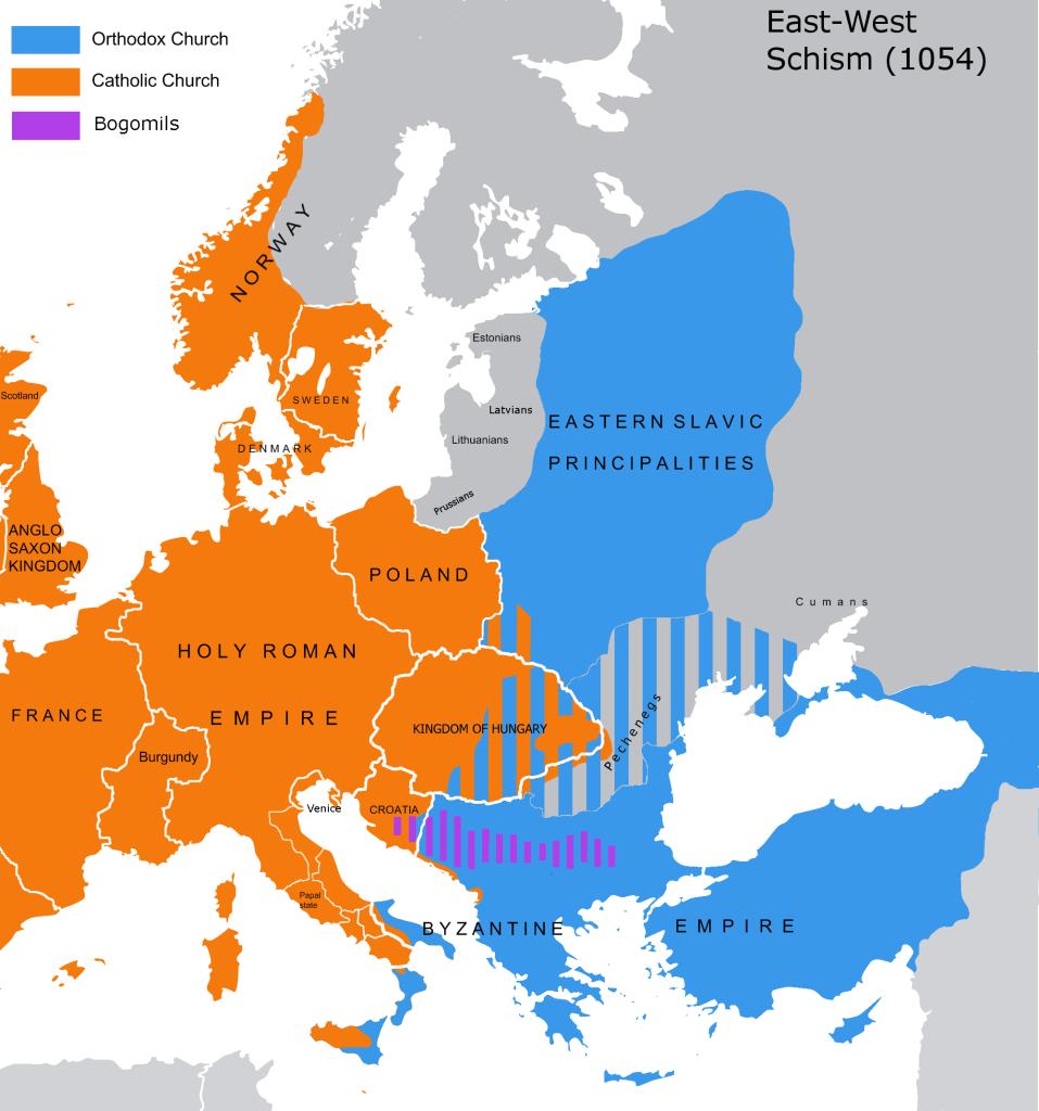 A Europa depois do Grande Cisma do Oriente, em 1054