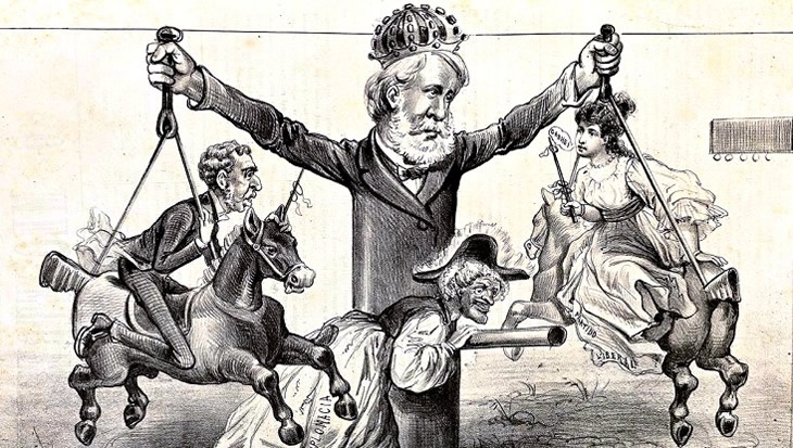 """""""O rei se diverte"""", charge de Faria, """"O Mequetrefe"""", 1878."""
