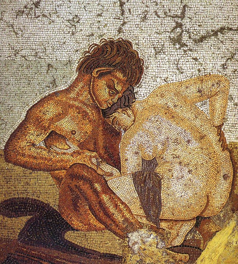 Sátiro e ninfa, Casa do Fauno, Pompeia.