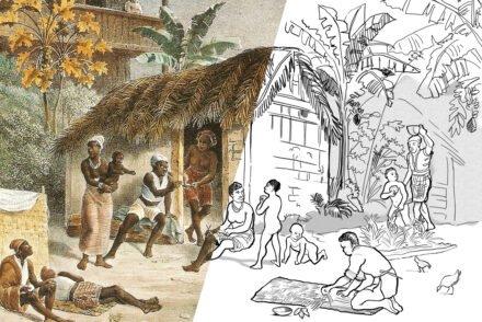 Habitação de negros, baseado em Rugendas, para colorir.