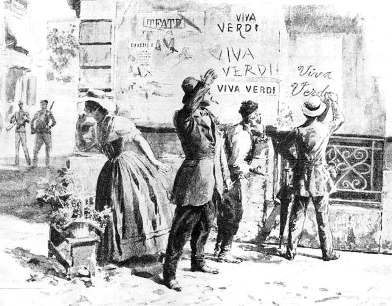 """""""Viva Verdi"""", sigla de """"Viva Vitorio Emanuele, Rei (da) Itália"""""""