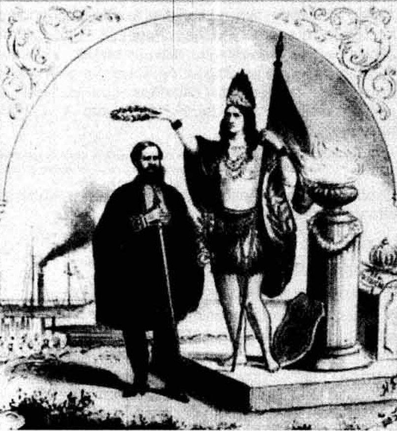 O indígena coroa o monarca.