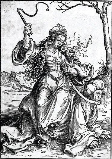 Filis cavalga Aristóteles, desenho, Lucas van Leyden, c. 1515