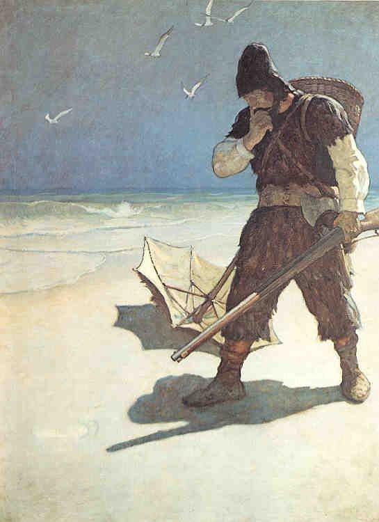 Pegadas na areia, ilustração de N .C. Wyeth