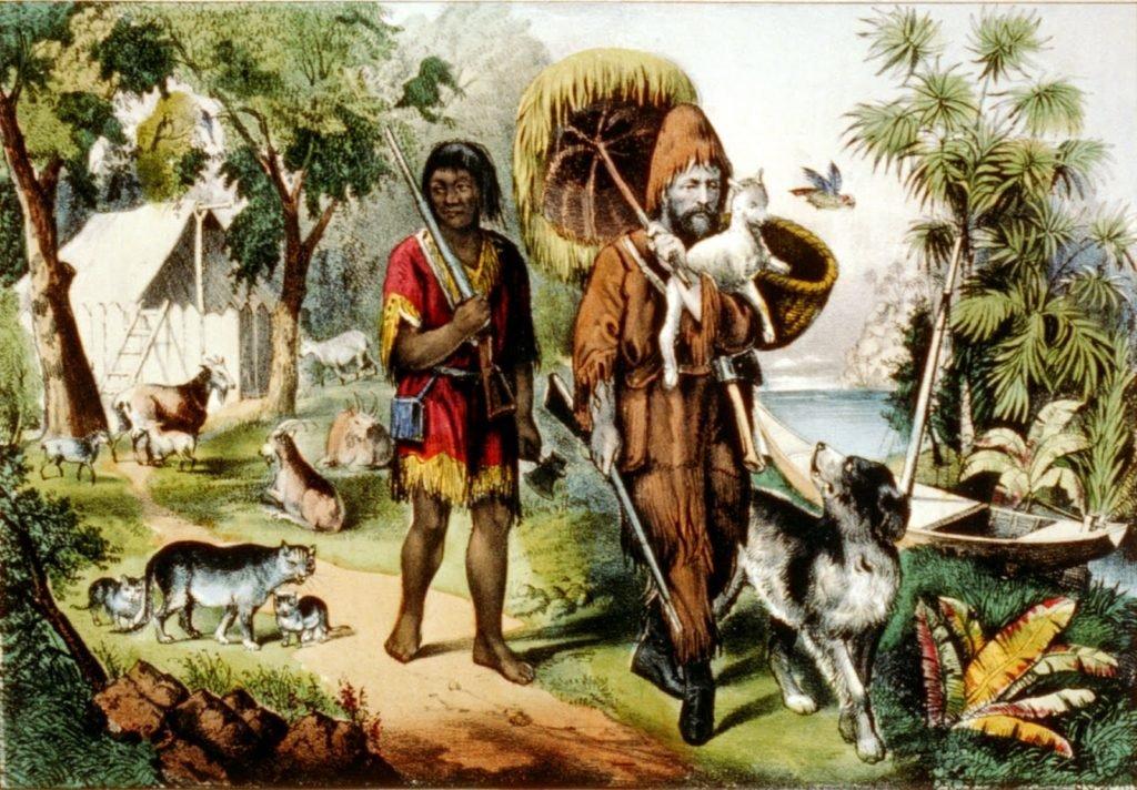 Robinson Crusoé e Sexta-Feira.