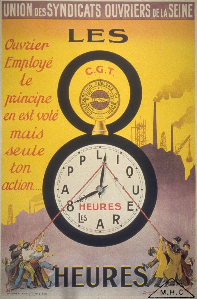 Jornada de 8 horas, cartaz CGT, 1914