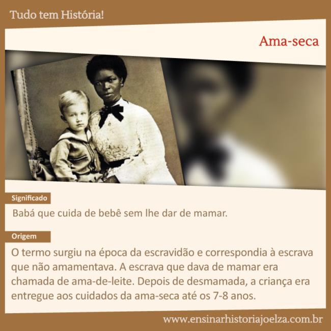 Significado: Babá que cuida de bebê sem lhe dar de mamar. Origem: O termosurgiu na época da escravidão e correspondia à escrava que não amamentava. A escrava que dava de mamar era chamada de ama-de-leite. Depois de desmamada, a criança era entregue aos cuidados da ama-seca até os 7-8 anos.