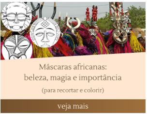 máscaras africanas para imprimir e colorir