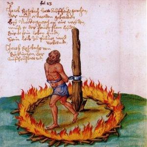 Um dos líderes Guerras Camponesas condenado à morte na fogueira.