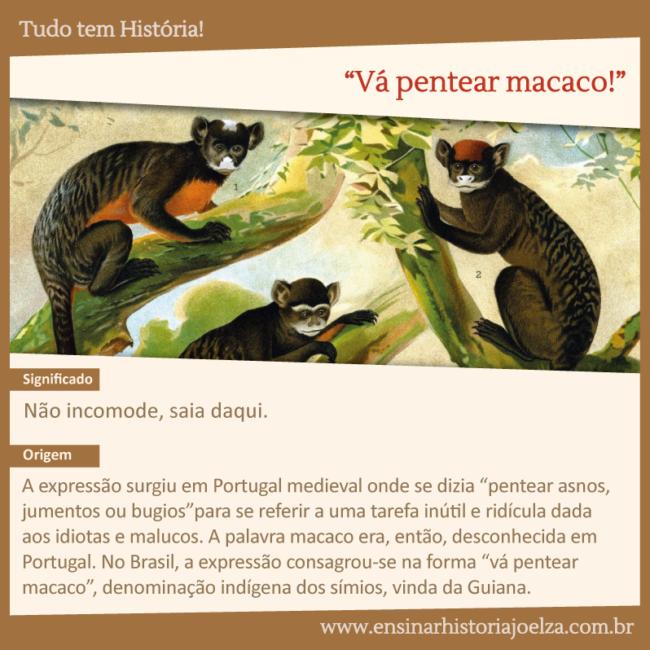 """Significado: Não incomode, saia daqui. Origem: A expressão surgiu em Portugal medieval onde se dizia """" pentear asnos, jumentos ou bugios"""" para se referir a uma tarefa inútil e ridicula dada aos idiotas e malucos. A palavra macaco era, então, desconhecida em Portugal. No Brasil, a expressão consagrou-se na forma """"vá pentear macaco"""", denominação indígena dos símios, vinda da Guiana."""