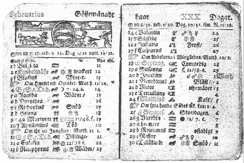Calendario sueco de 1712