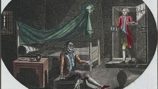 """""""O Homem da Máscara de Ferro"""", gravura anônima de 1789."""