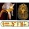 máscara mortuária de Tutancâmon, de ouro, vistas de frente e lateral.