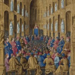 """O papa Urbano II no Concílio de Clermont, iluminura do """"Livre des Passsages d'Outre-mer"""", c. 1490"""