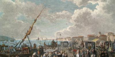 Embarque da família real portuguesa no cais de Belém, em 29 de novembro de 1807, Henry L'Evêque,1812.