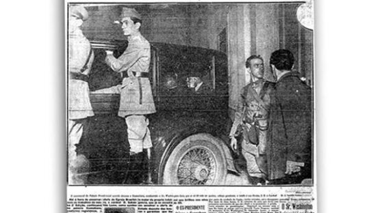 Washington Luís preso sendo conduzido ao Forte de Copacabana, Rio de Janeiro