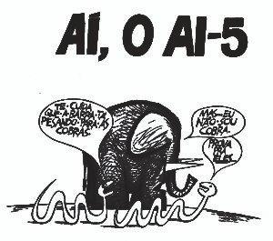 Charge de Ziraldo, depois do decreto do AI-5.