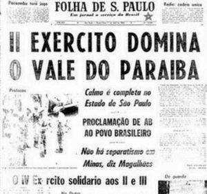 Manchetes do jornal Folha de S. Paulo, de 2 de abril de 1964