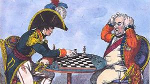 Napoleão jogando xadrez com o rei Jorge, da Inglaterra