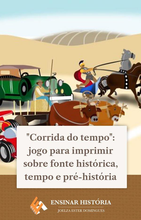 """""""Corrida do tempo"""": jogo para imprimir sobre fonte histórica, tempo e pré-história"""